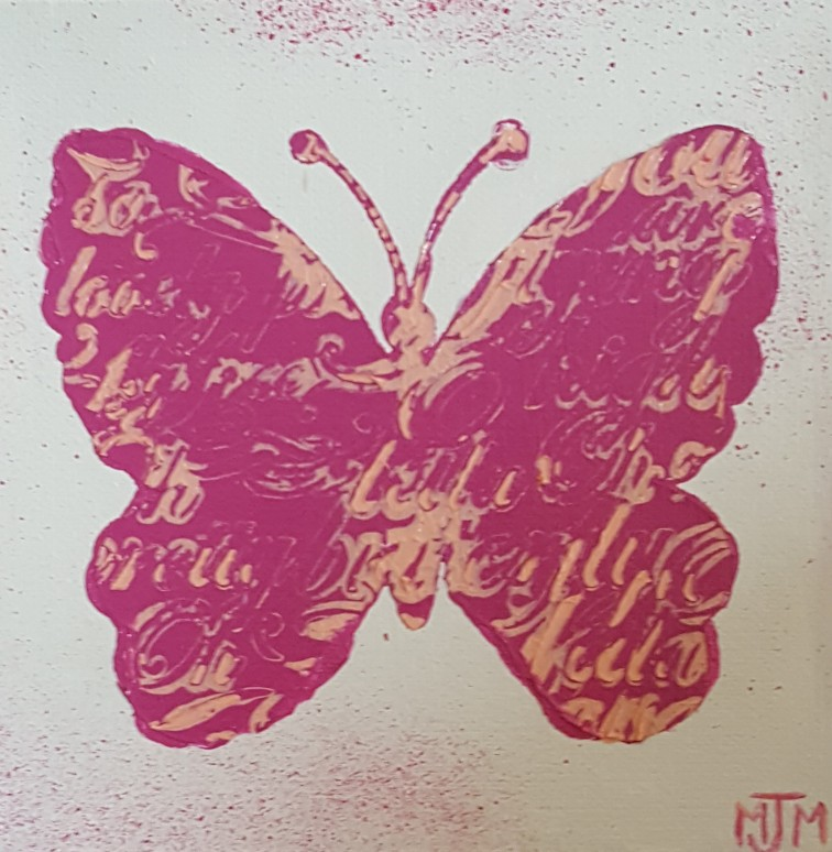 Pink Butterfly 6x6