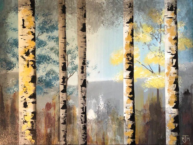 5 Birch Trees 24x18